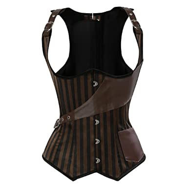 a9895157450 Grebrafan Striped Lace Corset Steampunk Underbust Waist Training Top   Amazon.co.uk  Clothing