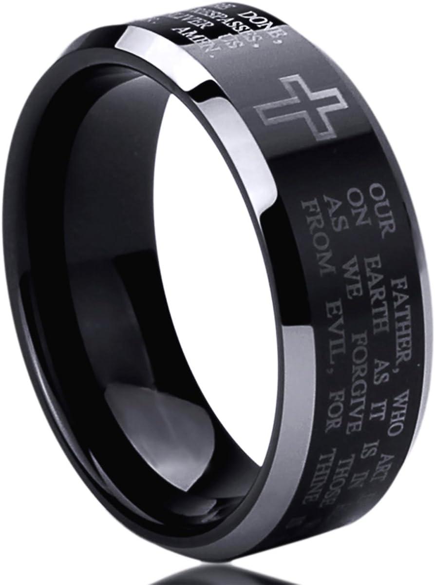 8mm Stainless Steel Wedding Band Ring for Men & Women Lord's Prayer Engraved Cross Praying Ring for Men & Woman