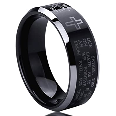 8MM Stainless Steel Mens Womens Rings Lordu0027s Prayer Engraved Cross Praying  Comfort Fit Black Wedding Bands
