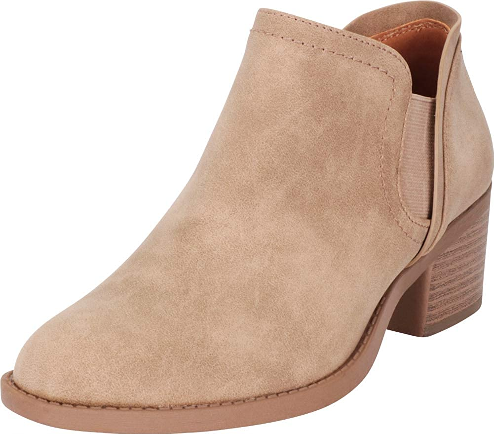 Stone Nbpu Cambridge Select Women's Stretch Slip-On Chunky Block Heel Shootie Ankle Bootie