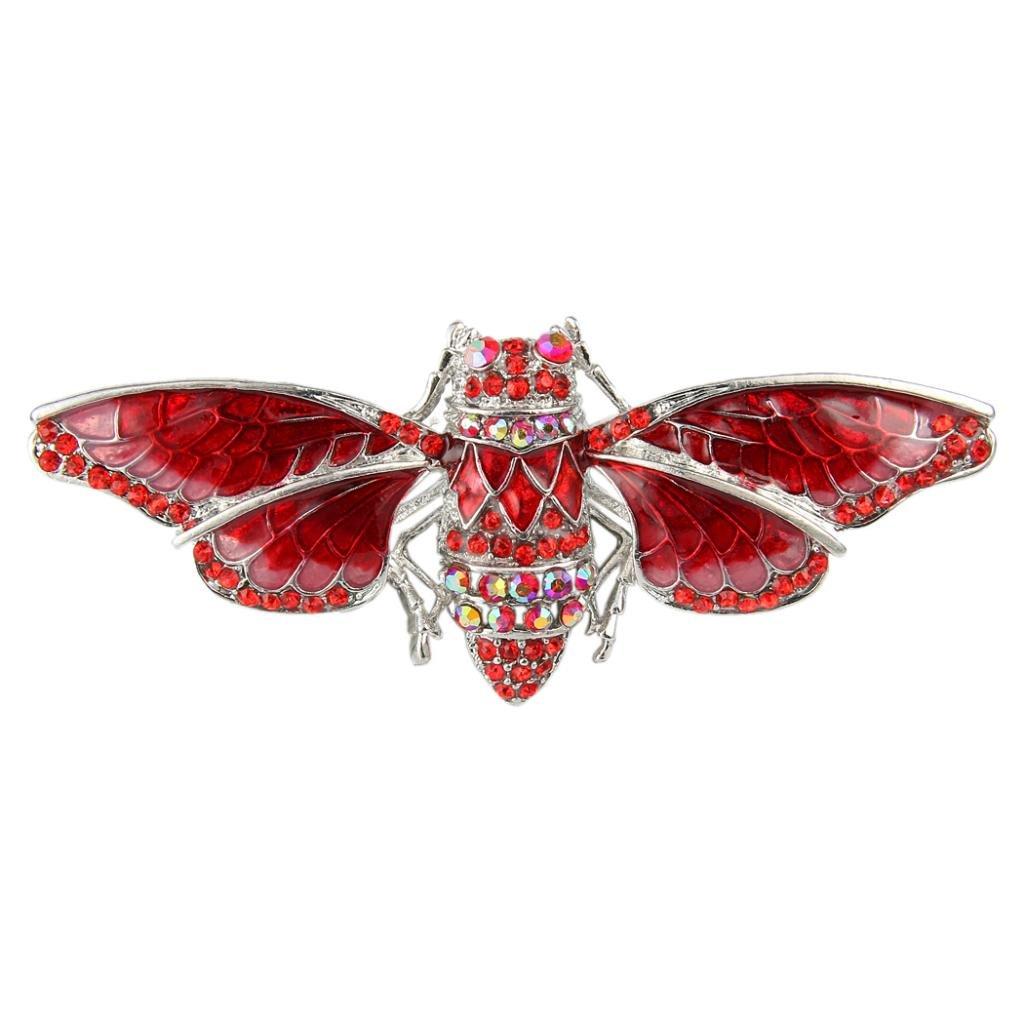 Ever Faith Silver-Tone Austrian Crystal Enamel Summer Cicada Brooch A00147-13
