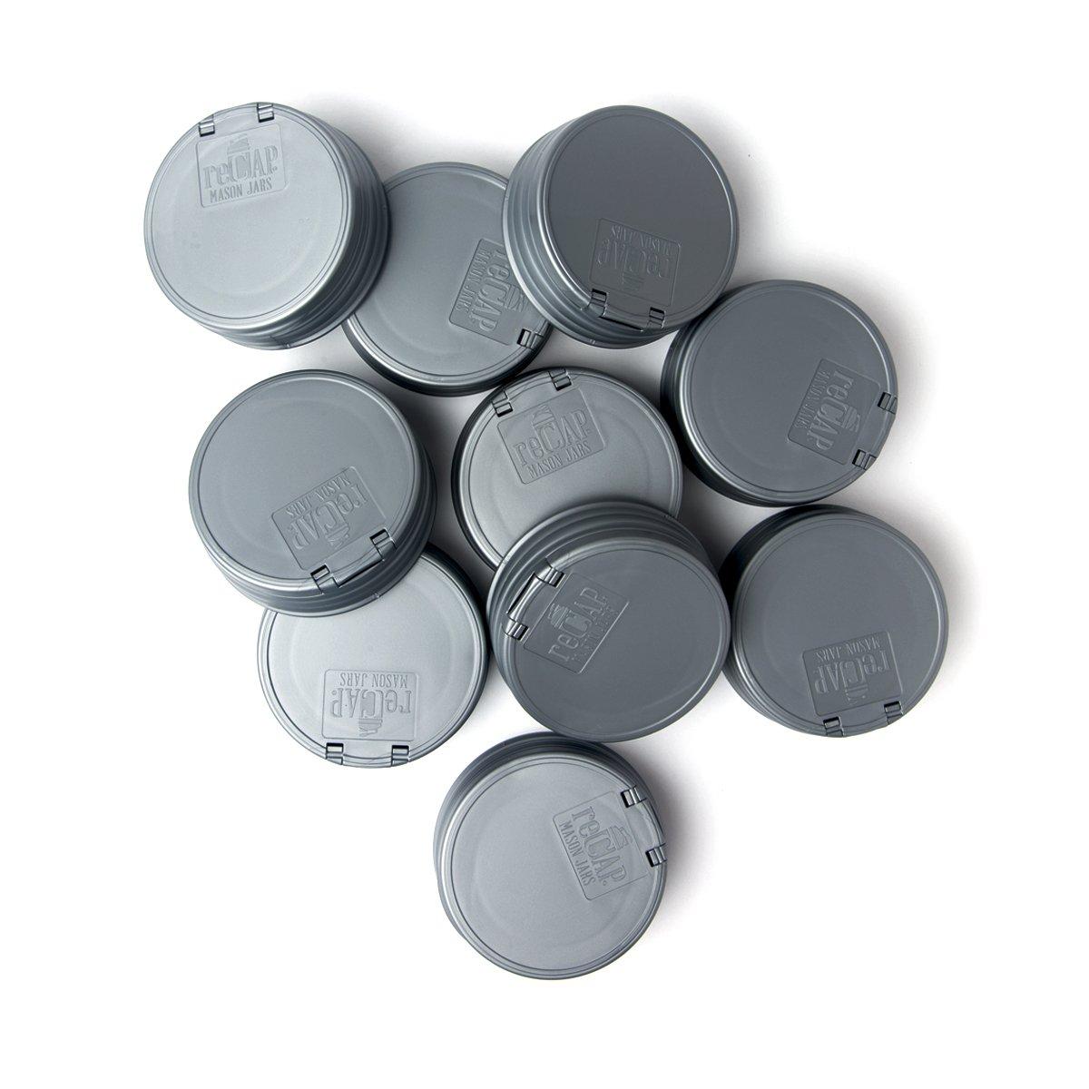 reCAP Mason Jars Lid FLIP Cap, Regular Mouth, Silver, 10 Pack
