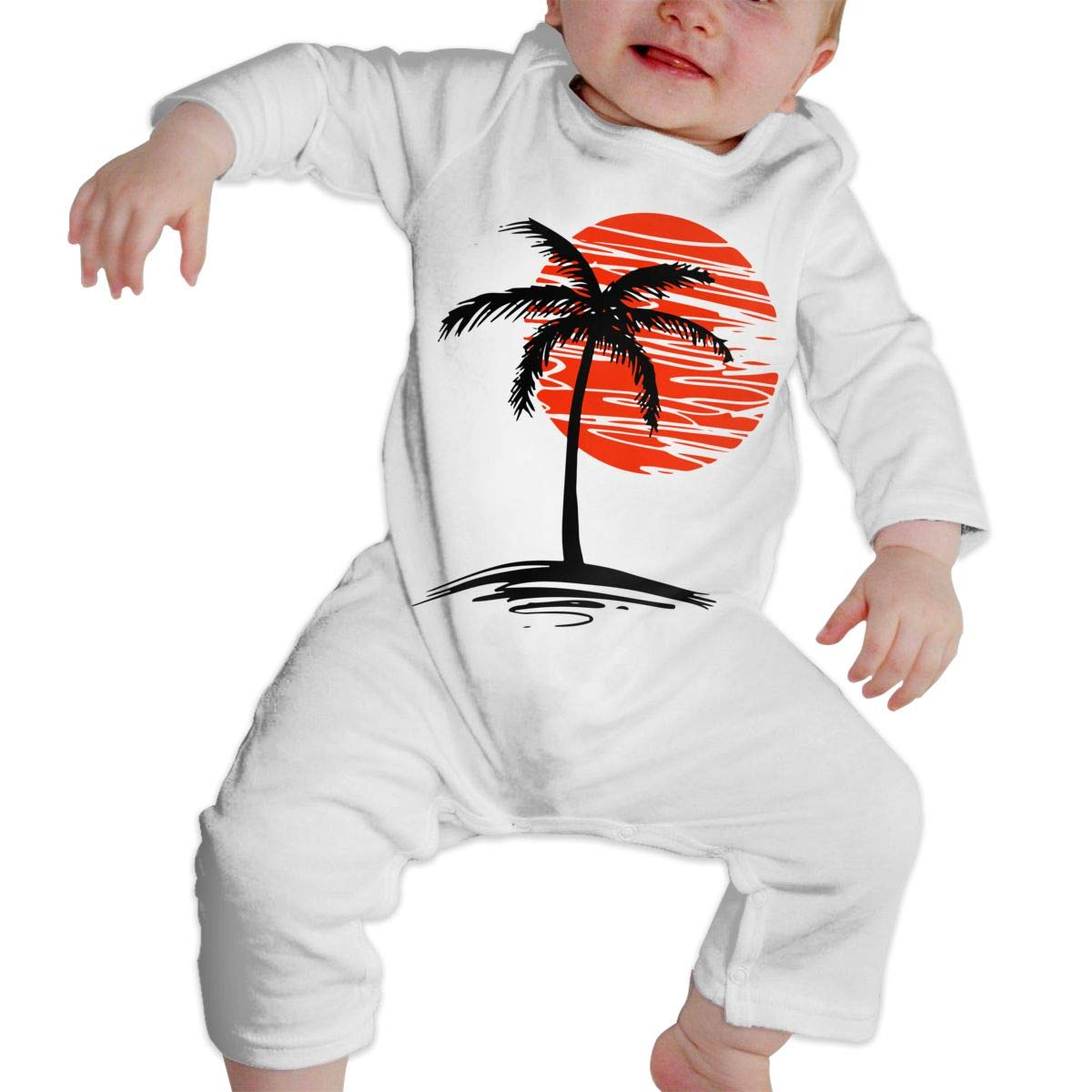 A1BY-5US Newborn Baby Boys Girls Bodysuits Palm Tree Cotton Long Sleeve One-Piece Coverall