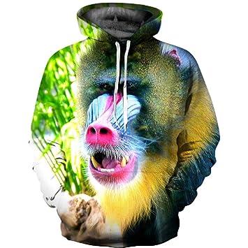 XINGMU Nuevas Sudaderas con Capucha Animales Gorilas Estilos De Pareja Estampados En 3D Camisetas Casuales De Manga Larga. S: Amazon.es: Deportes y aire ...