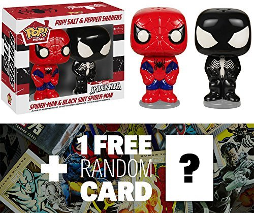 Spider-Man (Red/Blue & Black Suit): Funko POP! Home x Marvel Universe Salt & Pepper Shakers + 1 FREE Official Marvel Trading Card Bundle -
