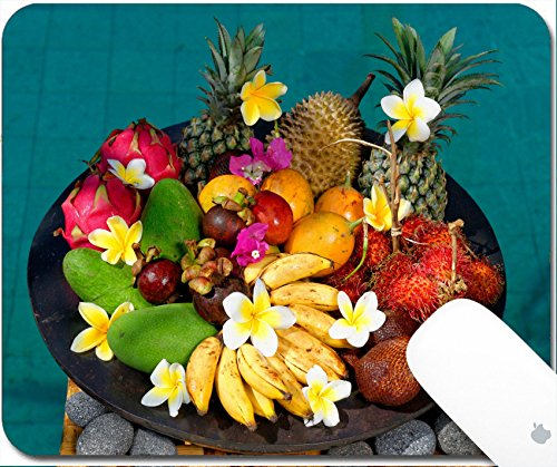 Luxlady Gaming Mousepad 9.25in X 7.25in IMAGE: 24976470 Tropical exotic fruits Basket with exotic fruits from Bali Indonesia by the swimming pool