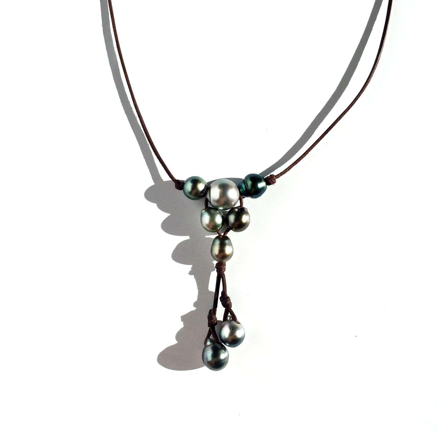 tahitian pearl and leather necklace