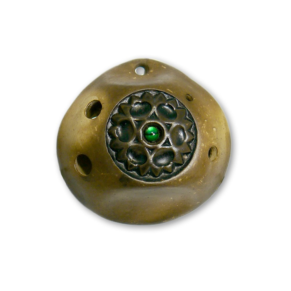 6 Hole Pendant Ocarina by Songbird– Inlaid Gemstone – Strawfire Finish-Ceramic- Soprano Bb –Amulet -Necklace- Flute – Perfect Travel Companion - Free Tutorial & Songbook Included