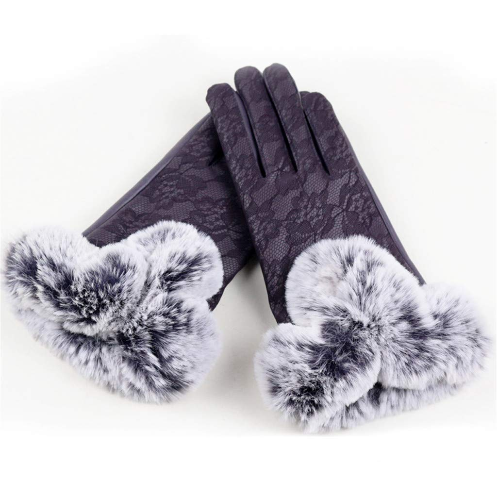 Guanti Guanti Da Donna Guanti Palestra Lady Black Leather Gloves Velvet Lace Using Phone For Cycling Running Gloves Outdoor Sport Thicken Keep Warm Gloves