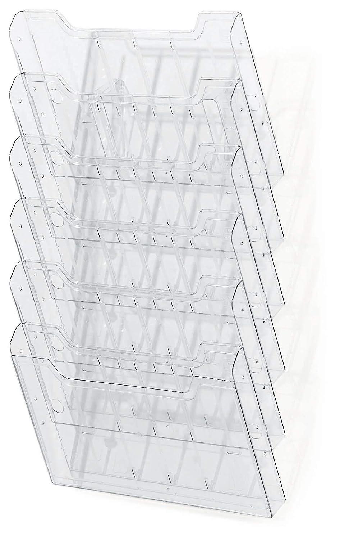 DIN A4 quer, 6 f/ächer 1 St/ück Exacompta 64258D Wandprospekthalter transparent