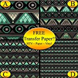 Gray & Green Tribal Pattern Printed Heat Transfer Vinyl (Style C - 12 x 24)