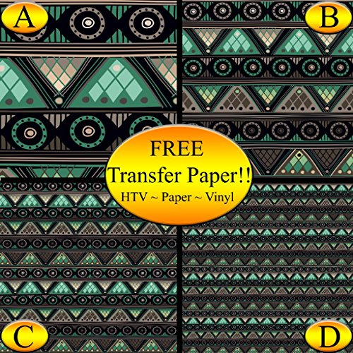 Gray & Green Tribal Pattern Printed Heat Transfer Vinyl (Style C - 12 x 24) by American Sign Letters