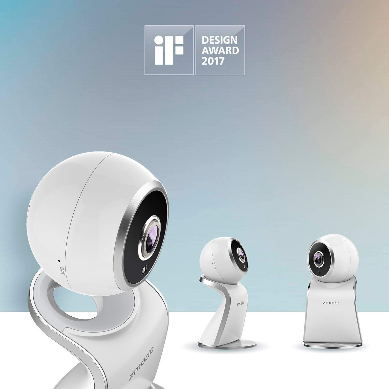 2 Pack Two Way Audio Motion Detection Compatible with Alexa Night Vision Zmodo Sight 180 Home Security Camera Full HD 1080p Wireless Indoor IP Camera System with 180 Degree Viewing Angle