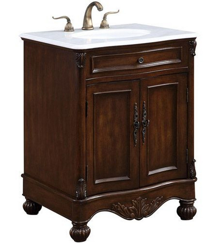 Elegant Decor VF-1033 Single Bathroom Vanity Set, 27'', Teak/VF-1033