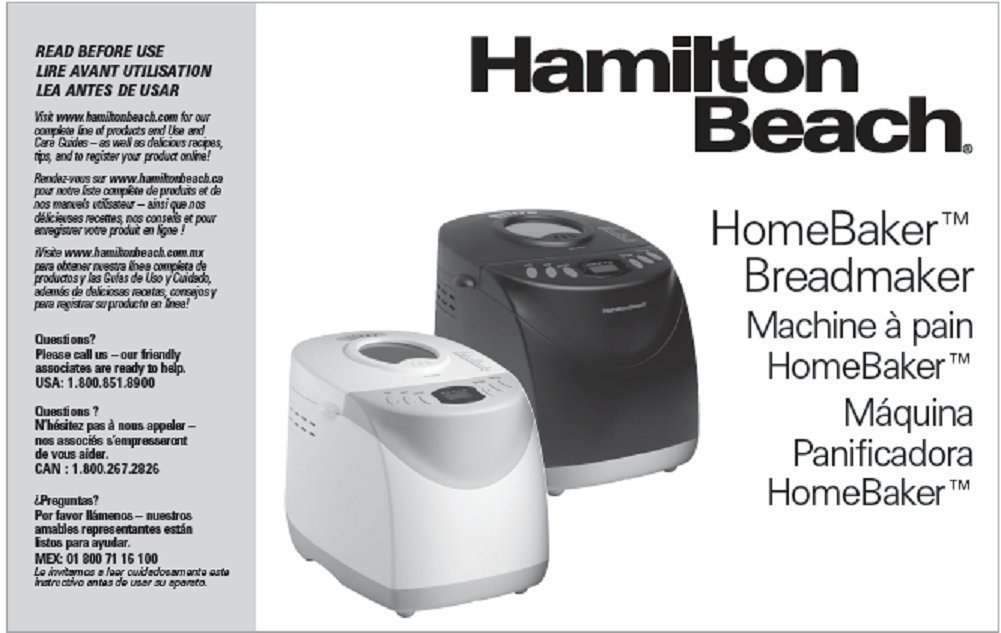 Hamilton Beach Bread Machine Manual (Model: 840106600 ...