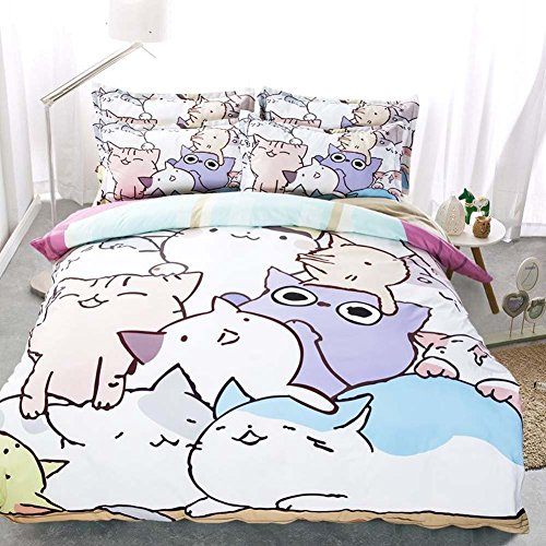 MeMoreCool Well-designed Cute Cats Reactive Printed Bedding Set,Cartoon Cats Duvet Cover Set,Soft Fitted Sheet,Queen,4-Pieces