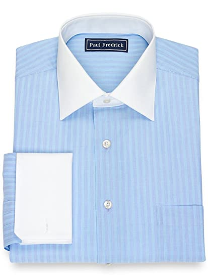 1920s Fashion for Men Paul Fredrick Mens Cotton Textured Stripe Dress Shirt $34.98 AT vintagedancer.com