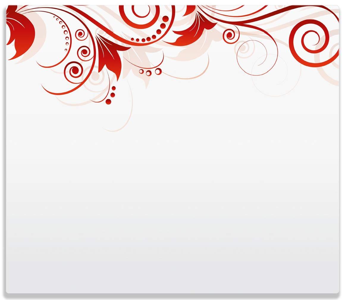 Wallario Herdabdeckplatte/Spitzschutz aus Glas, 1-teilig, 60x52cm, für Ceran- und Induktionsherde, Abstrakte Rote Blumenschnörkel posterdepot