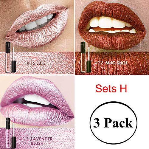 Metallic Lipstick Set Bulk Lipgloss Womens Makeup Stay On Glossier Long Lasting Colorstay Liquid Waterproof Lip Gloss 3 Sets H