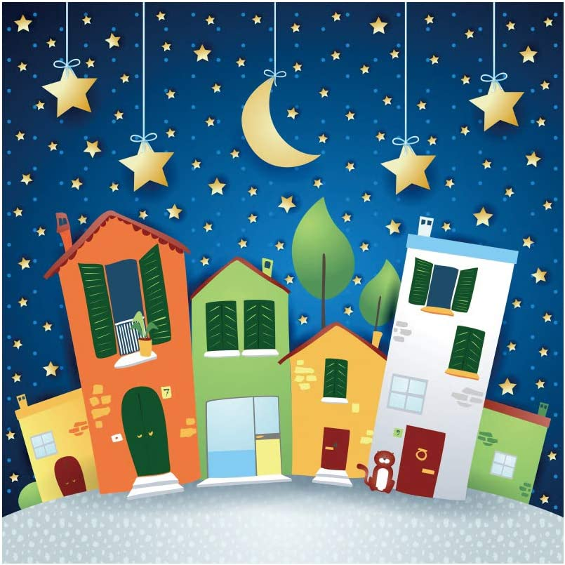 YEELE Cartoon Christmas Village Backdrop Moon and Stars Kids Birthday Party Photography Background 6.5x6.5ft Baby Child Acting Show Photo Portrait Booth Shooting Vinyl Cloth Studio Props