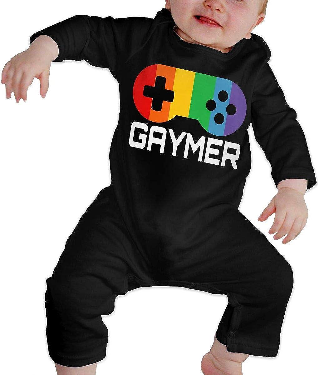 YELTY6F Gaymer Pride Printed Boys Girls Jumpsuit Long Sleeve Pajamas Black
