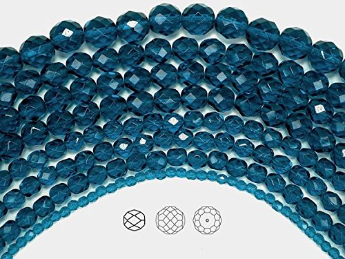 - 4mm (102) Dark Aqua, Czech Fire Polished Round Faceted Glass Beads, 16 inch strand