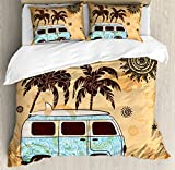 Lunarable Vintage Hawaii Duvet Cover Set King Size, Retro Trees Old Van with Abstract Sun Design Beach Surfing Board, Decorative 3 Piece Bedding Set with 2 Pillow Shams, Orange Brown Sky Blue