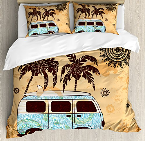 Set Tree Abstract (Lunarable Vintage Hawaii Duvet Cover Set King Size, Retro Trees Old Van with Abstract Sun Design Beach Surfing Board, Decorative 3 Piece Bedding Set with 2 Pillow Shams, Orange Brown Sky Blue)