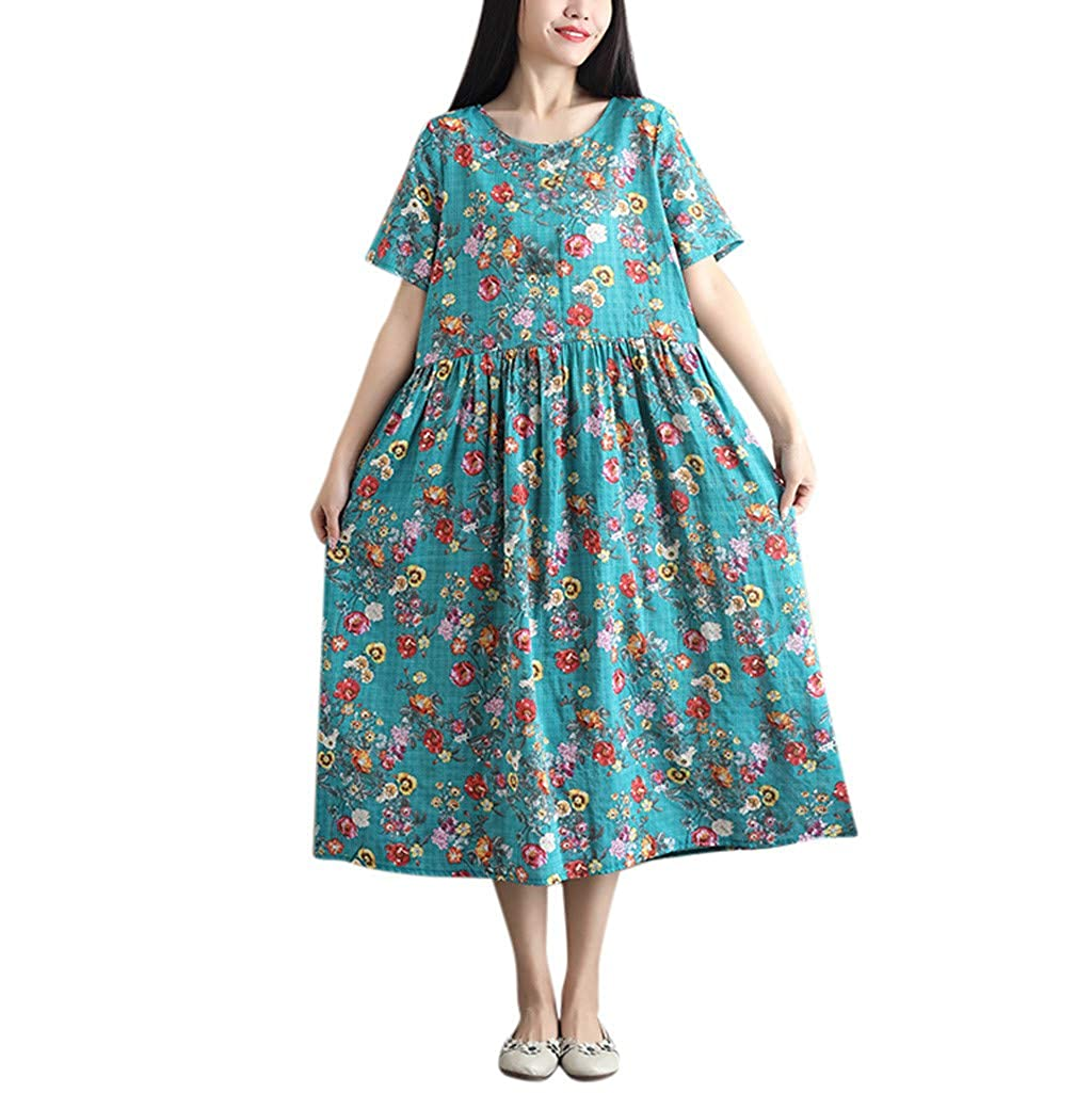 cfc9efd3a4a Cotton Floral Short Sleeve Dress - Gomes Weine AG