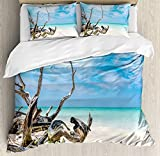 Driftwood Duvet Cover Set Seascape Theme Branches on The Sandy Beach of Cuba and The Sky Image Microfiber Bedding Sets with Zipper and Corner Ties Turquoise Sky Blue (4 Pcs, Twin)