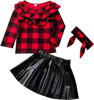 Tianhaik 1-6t Trajes de Cuadros de niña pequeña con Volantes Blusa + Falda de Cuero + Diadema: Amazon.es: Ropa y accesorios
