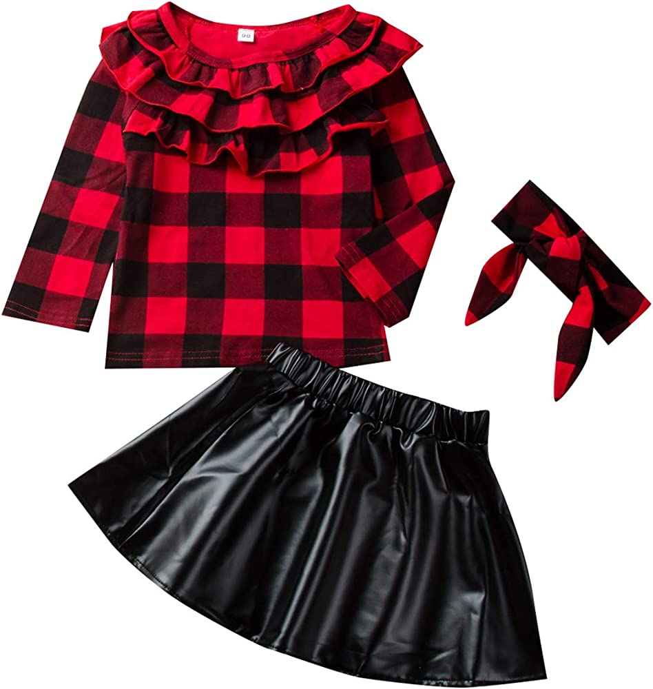 puseky 3pcs niños niñas pequeñas Camisa a Cuadros roja con ...