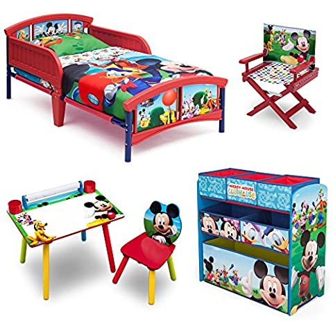 Disney Delta Children Enterprise Mickey Mouse 5 Piece Furniture Set - Plastic Toddler Bed, Multi-Bin Organizer, Art Desk and Chair, Director's Chair for Boys Toddler