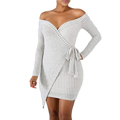 5750570a7825 Miss-Loly Women Sexy Off Shoulder Low-Cut Backless Bandage Bodycon Clubwear  Mini Club