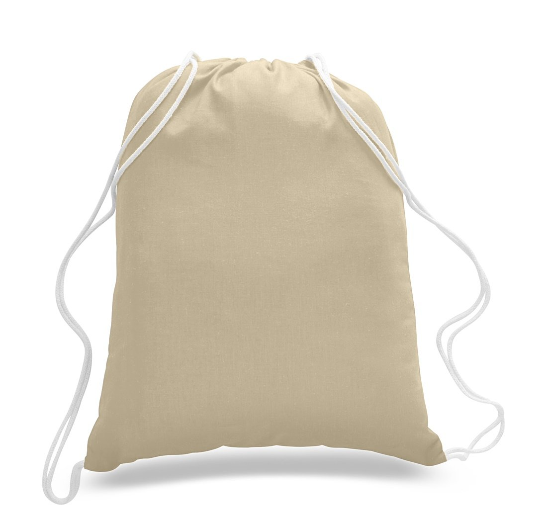 Cotton Canvas Drawstring Backpack Small Cinch Sack Sport Bag School Camp 12 Pack (Natural)