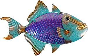 Liffy Metal Fish Wall Art Nautical Patio Decor Garden Tropical Animals Hanging Decoration for Pool or Bathroom