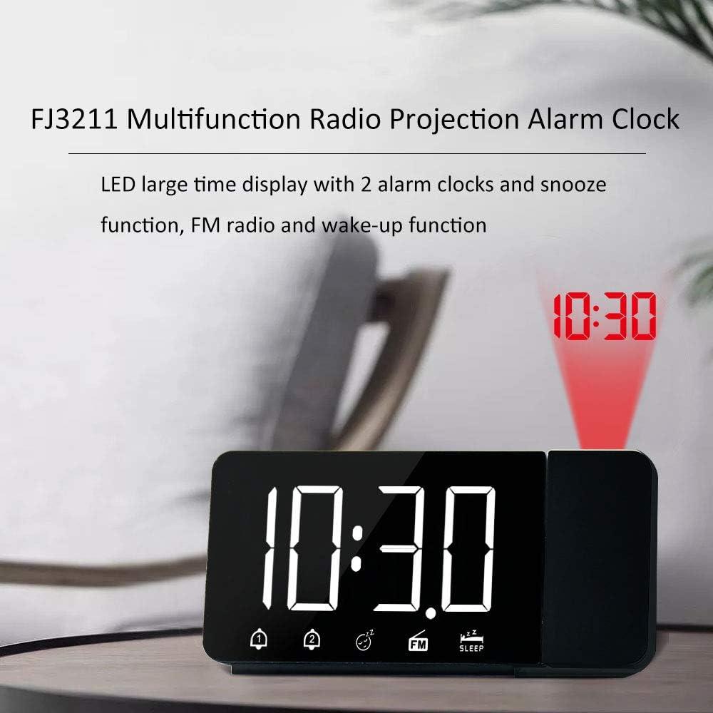 HITECHLIFE R/éveil /à Projection avec Radio FM et R/étro-Eclairage R/églable Horloge Num/érique 5 /à 60 Minutes Fonction Snooze et Double Alarme