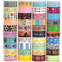 40 Rolls Pamapic Washi Tape Set , decorative Tape Christmas design, Great glitter washi tape For Planners, Arts, Crafts, DIY, colored masking tape is fit for Little boys & girls (15mm, 40 Colors)