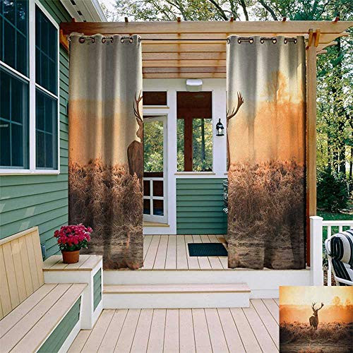 leinuoyi Hunting, Outdoor Curtain Ties, Red Deer in The Morning Sun Wilderness Nature Scenery Countryside Rural Heathers, Outdoor Privacy Porch Curtains W108 x L96 Inch Brown Orange