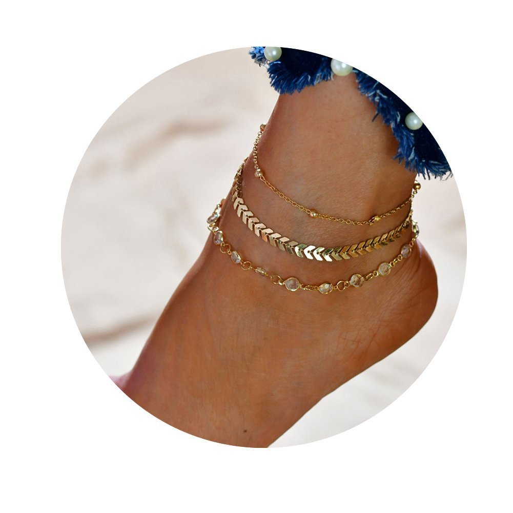 Ever Fairy Gold Chain Multiple Layered Crystal Arrow Boho Heart Sand Beach Rhinestones Charm Anklet for Women Girl HEC0614-A001-BXMY