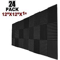 """24 Pack Acoustic Panels Studio Foam Wedges 1"""" X 12"""" X 12""""Sound-proofing,Sound Absorption (24pcs, Black) (24PCS, Black)"""