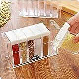 Kitchen Supplies Clear Plastic Spice Seasoning Salt Pepper Sugar Seasoning Box Storage Container Organizer 6 Pcs/Set (white)
