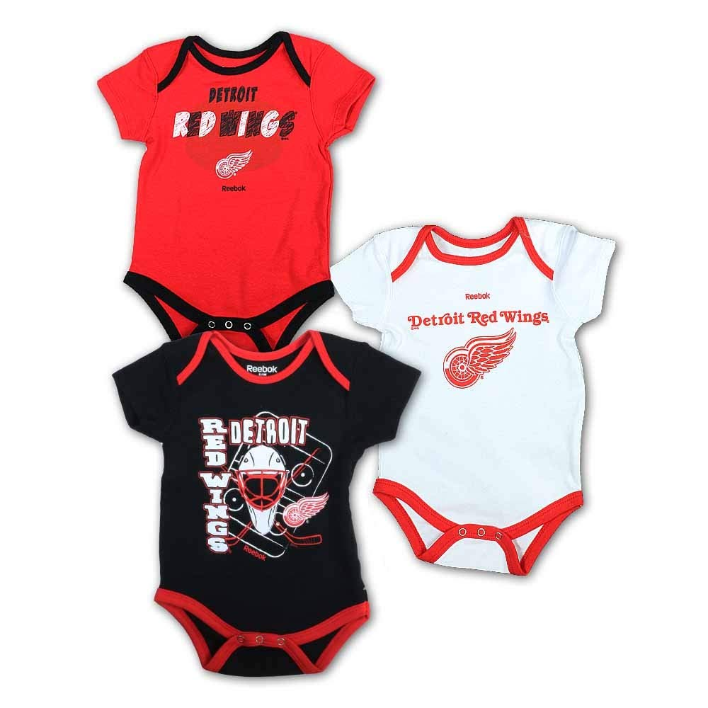 Detroit Red Wings Newborn/Infant 3-Piece Onesie Set, Red, Infant 18 Months by Detroit Athletic Co