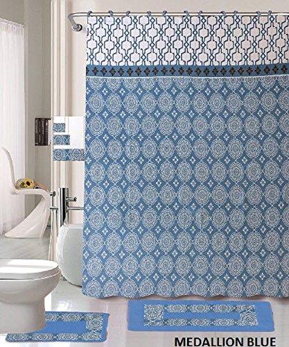 18 Piece Bath Rug Set Sky Blue Medallion Print Bathroom Rugs Shower Curtain Rings And