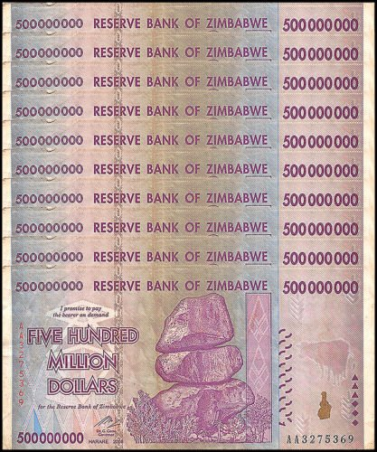 10 x 500 Million zimbabwe Circulated Used 2008 series AA/AB,P-82 For collectors - Genuine Rare by Nice1159