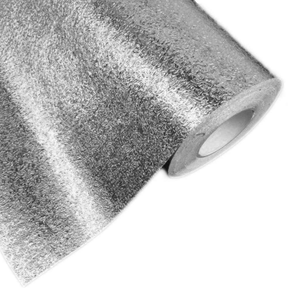 0.45M,GridSilver Hottong Kitchen Oil Proof Waterproof Sticker Aluminum Foil Kitchen Stove Cabinet Drawer Orange Peel Grain Self Adhesive Wallpaper