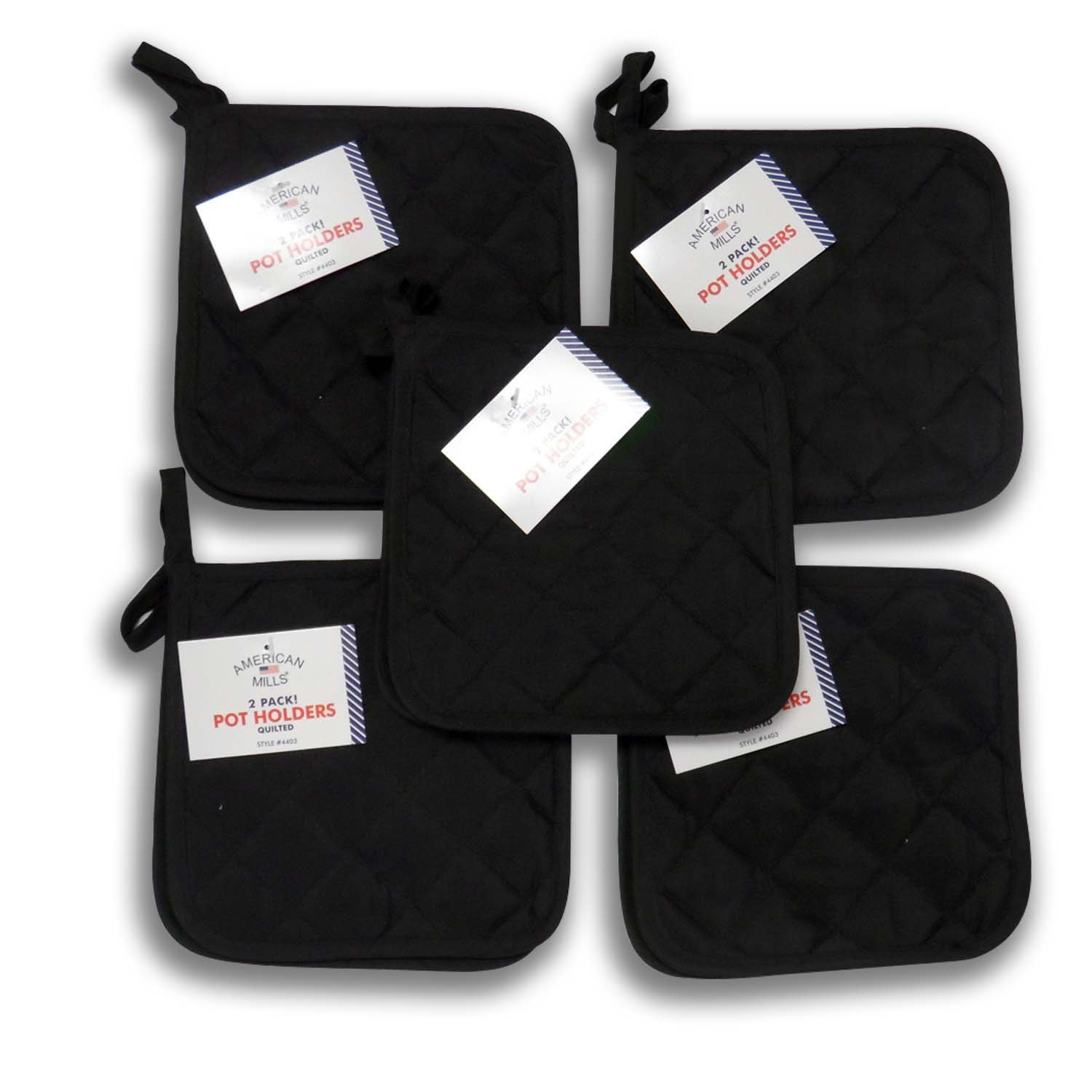 (Ten) 10 Pack Pot Holders 6.5 Square Solid Color Everday Quality Kitchen Cooking Chef Linens (Black)