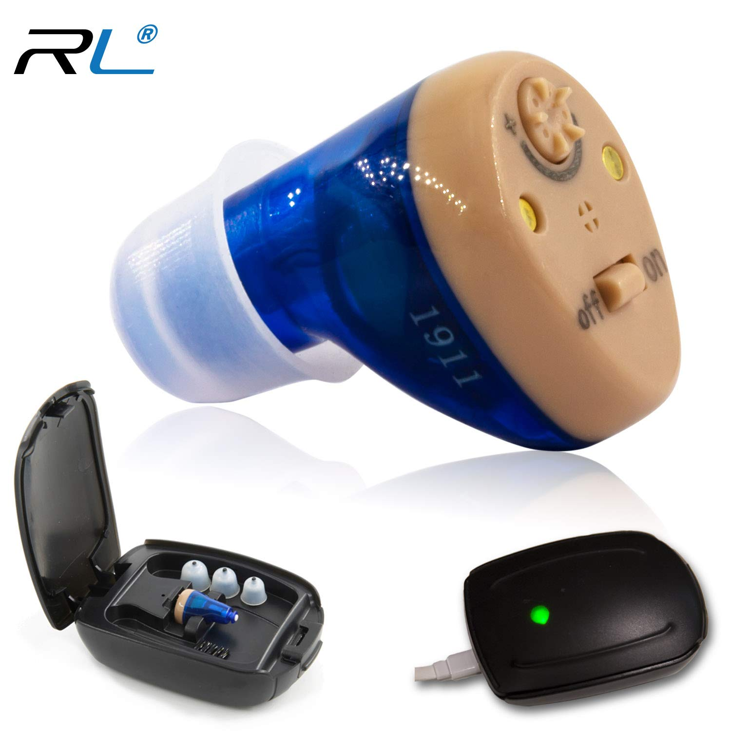 R&L Rechargeable Hearing Amplifier C100 to Aid and Assist Hearing for Adults and Seniors, Digital CIC ITE ITC Style Rechargable Device with Feedback Cancellation, Fit Both Ears by R&L
