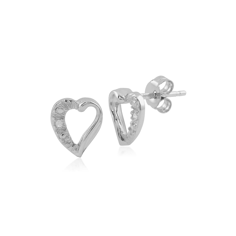 1PT Diamant 9 Karat Weiss Gold Herz Ohrstecker Amazon Schmuck