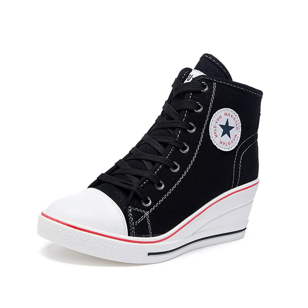 Black Sokaly Women's Sneaker High-Heeled Canvas shoes High-Top Pump Lace UP Wedges Side Zipper shoes Fashion Sneakers